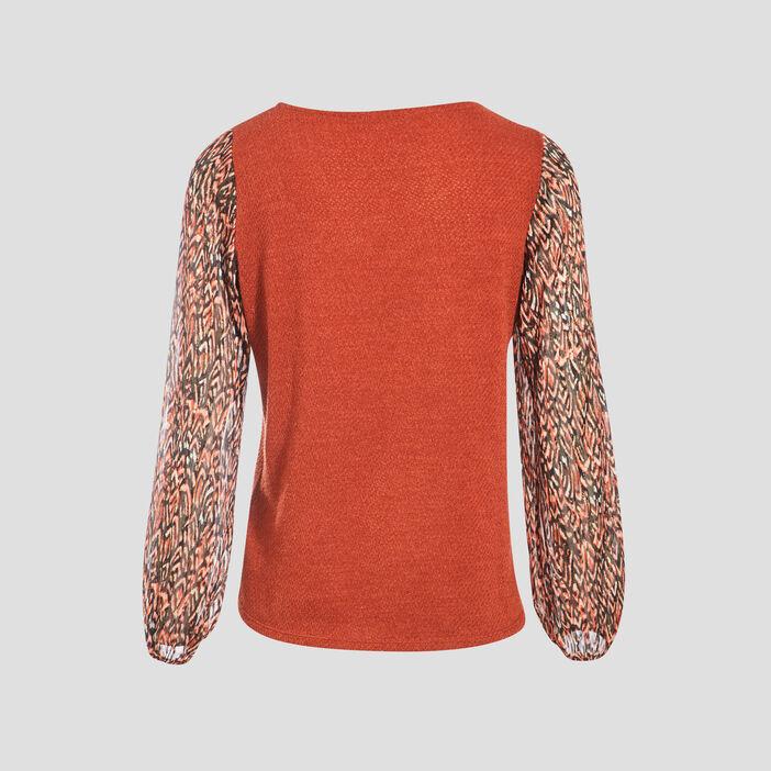 T-shirt manches longues multicolore femme