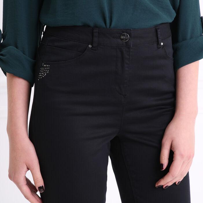 Pantalon poches strass fantaisie noir femme