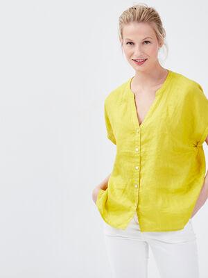 Chemise manches courtes vert anis femme