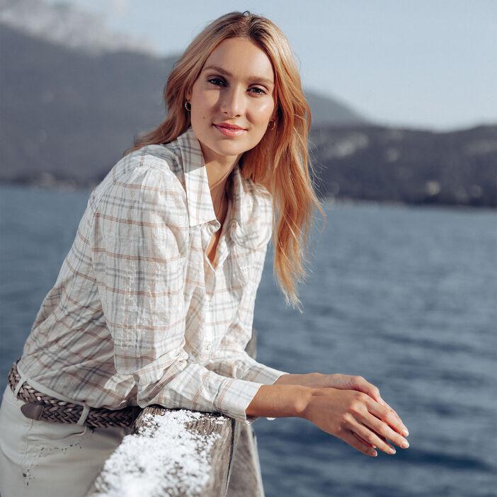 Chemise manches longues beige femme