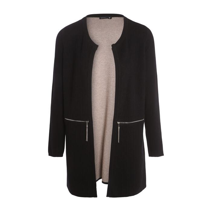 Gilet droit poches zippées noir femme