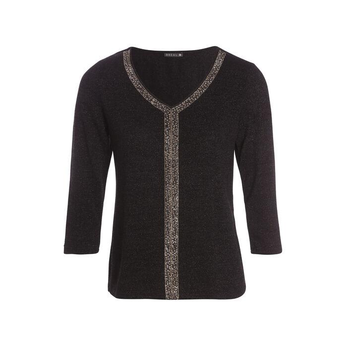 T-shirt manches 3/4 métallisé noir femme