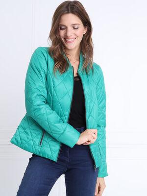 Doudoune cintree zippee vert menthe femme