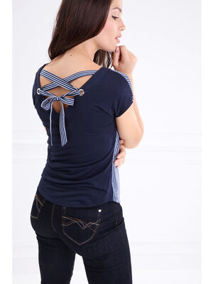 T shirt col V a oeillets lace dos bleu fonce femme