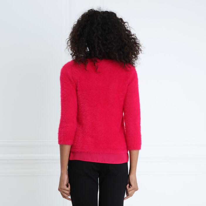 Pull col en V maille duveteuse rose femme