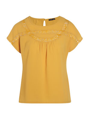 Tee shirt manches courtes jaune moutarde femme