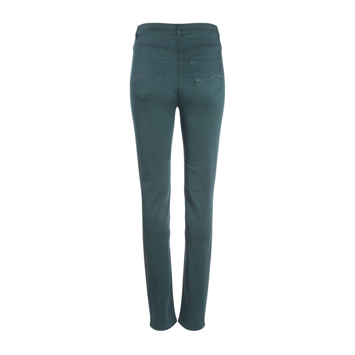 Pantalon ajusté taille haute vert foncé femme