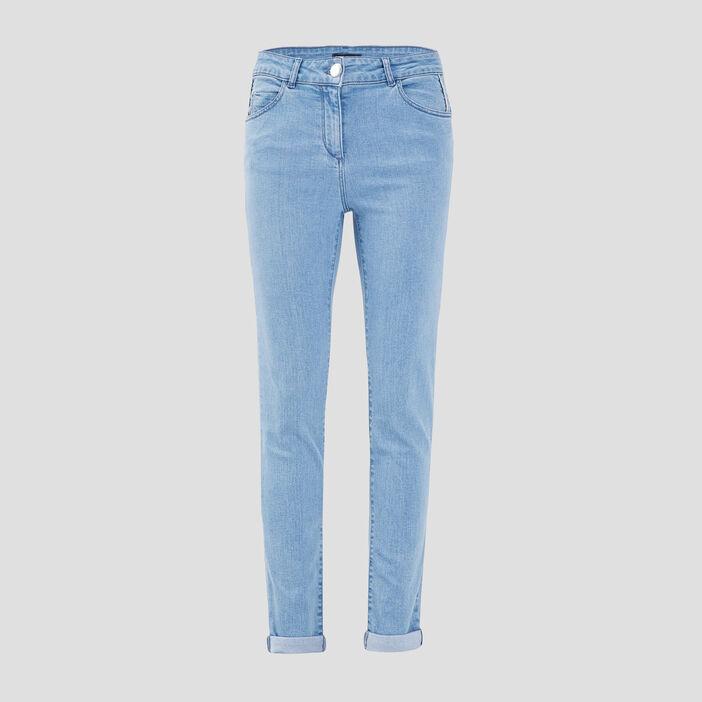 Jeans droit taille standard denim bleach femme