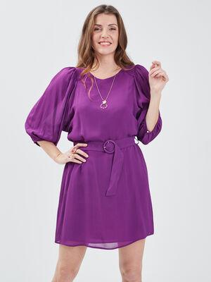 Robe evasee ceinturee violet femme