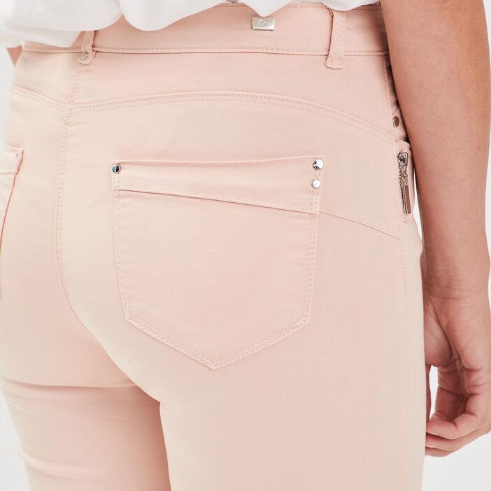 Pantalon 7/8 satin rose poudrée femme