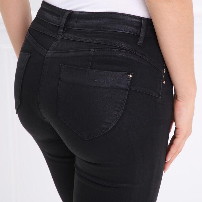 Pantalon enduit à rivets étoiles noir femme