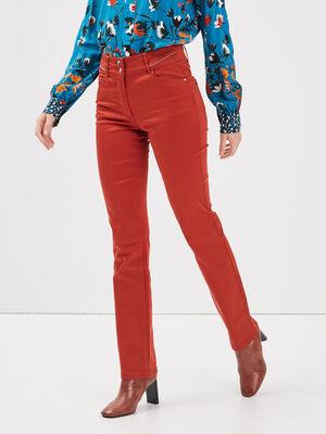 Pantalon droit taille standard marron fonce femme