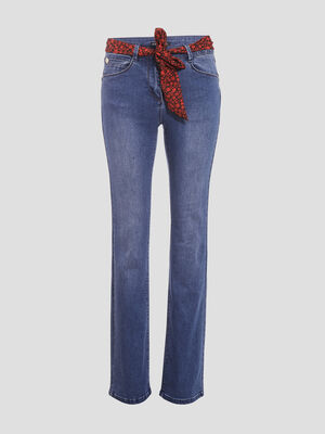 Jean ample taille haute denim stone femme