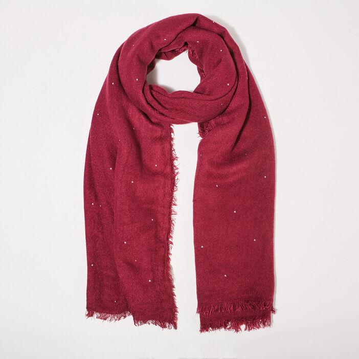 Foulard clous maille unie rose framboise femme