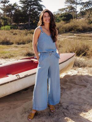 Combinaison pantalon ample denim double stone femme