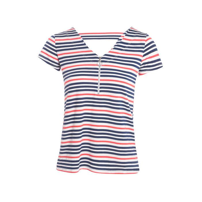 T-shirt avec zip bleu foncé femme