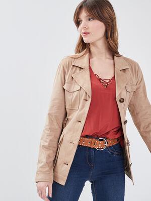 Veste droite ceinturee beige femme