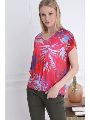 T shirt manches courtes drape rouge femme