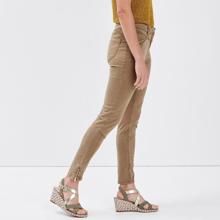 Pantalon slim taille basculée vert kaki femme