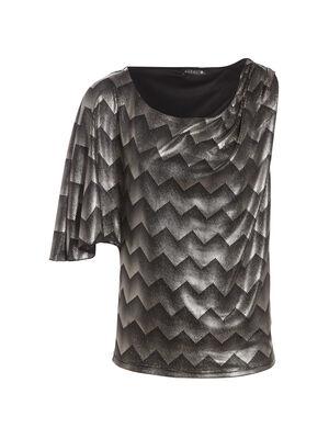T shirt manches asymetriques noir femme