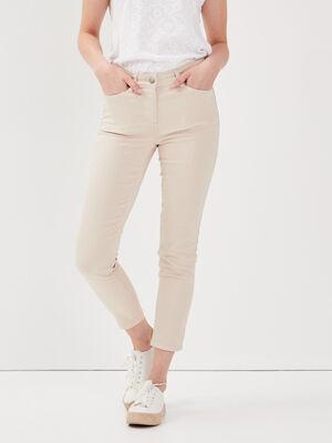 Pantalon ajuste taille standard sable femme