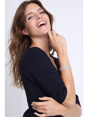 Bracelet jonc strass couleur argent femme