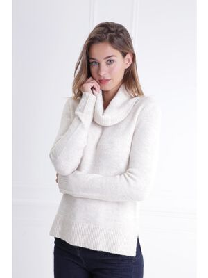 Pull col roule maille extensible ecru femme