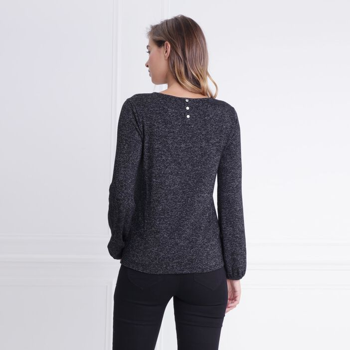 T-shirt col rond empiècement en studs noir femme