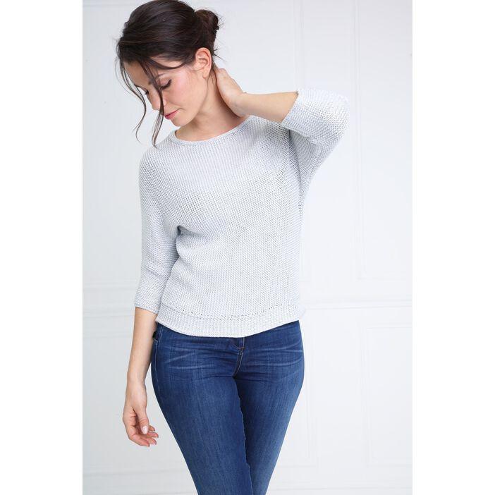 Pull col rond ouverture dans le dos gris clair femme