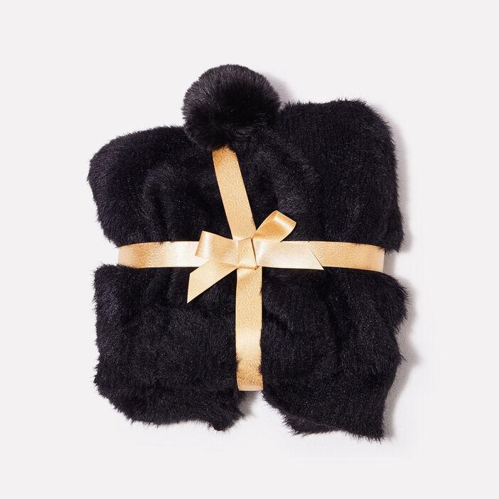 Lot bonnet et écharpe noir femme