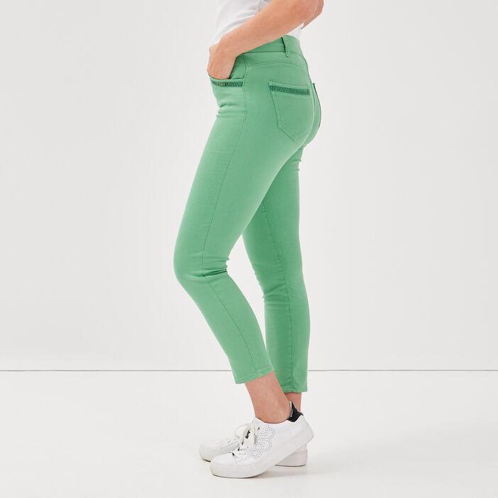 Pantalon ajusté vert femme