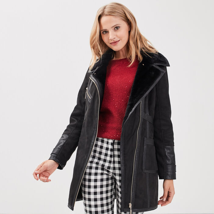 Manteau droit col fourrure noir femme