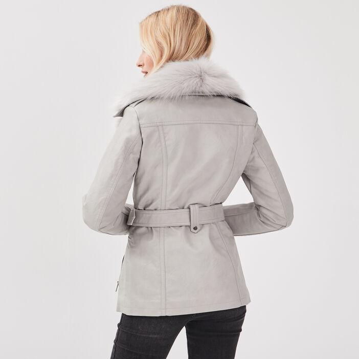 Manteau cintré fausse fourrure gris foncé femme