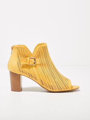 Sandales a talons perforees jaune femme