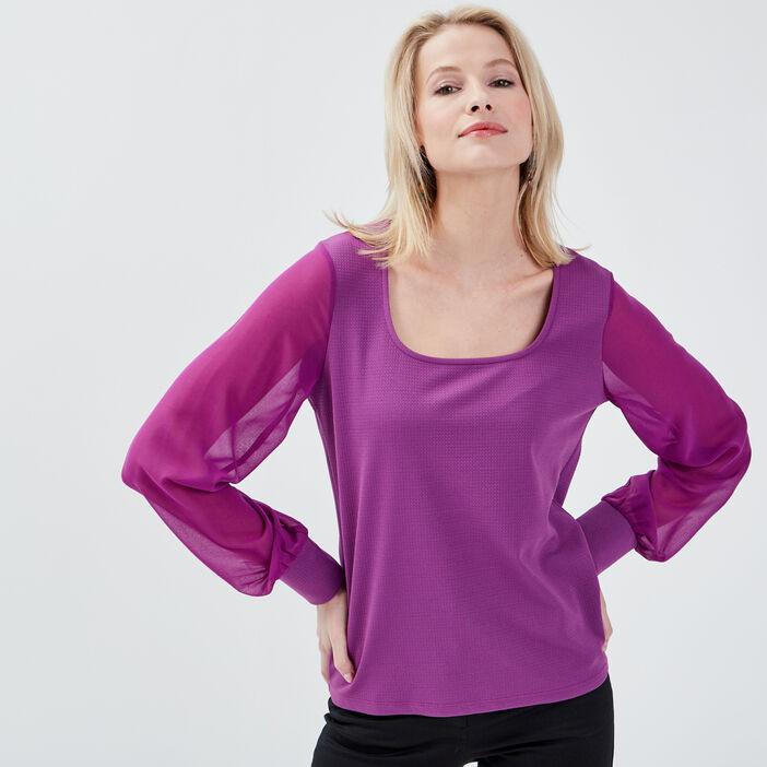 T-shirt manches longues violet femme
