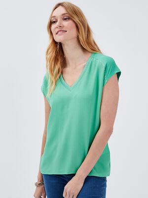T shirt manches courtes vert femme