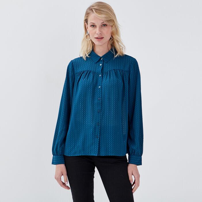 Chemise manches longues évasée bleu canard femme