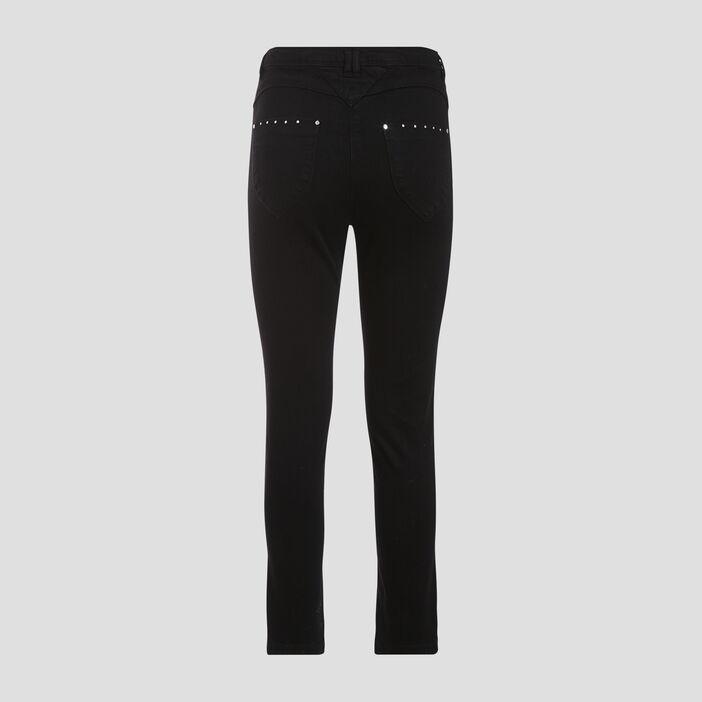 Pantalon ajusté taille haute noir femme
