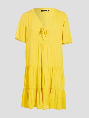 Robe evasee fluide a volants jaune femme