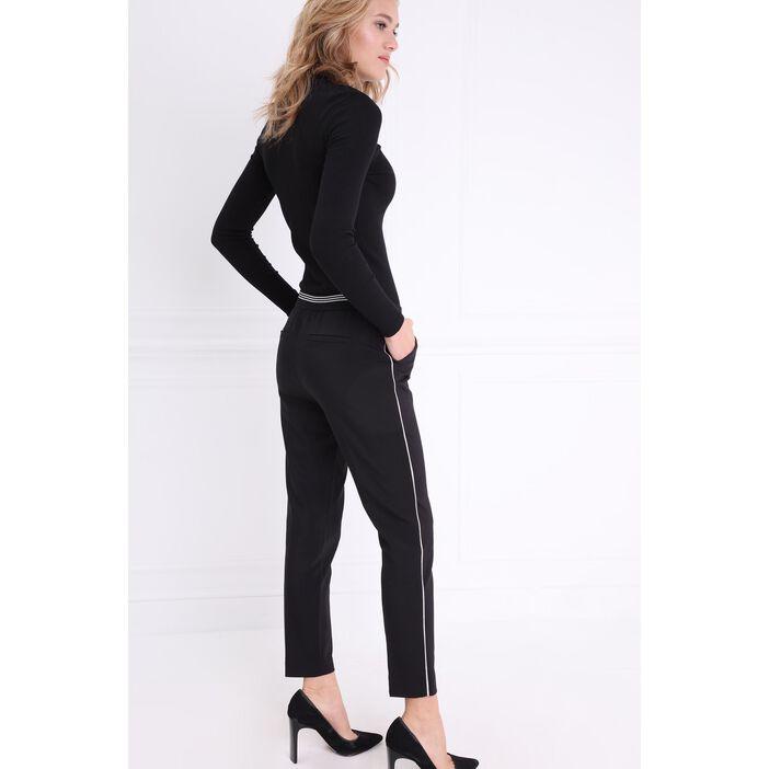 Pantalon taille basculée noir femme