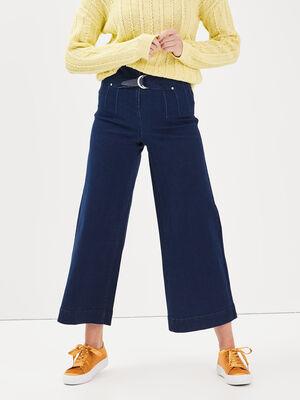 Jeans jupe culotte a boucle denim brut femme