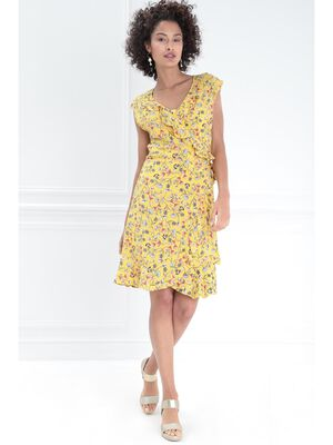 Robe portefeuille a volants jaune femme