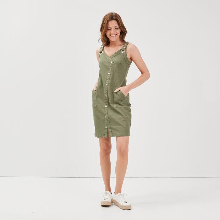 Robe ajustée à bretelles vert kaki femme