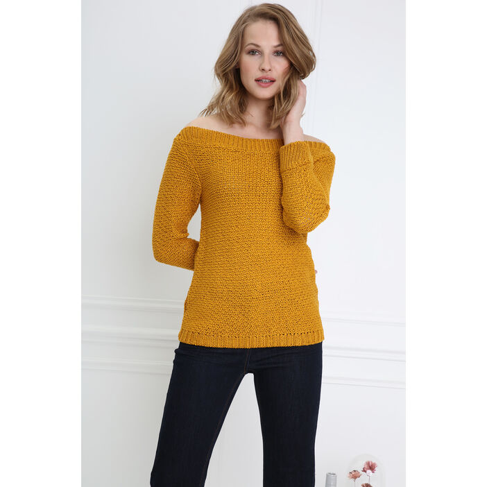 Pull manches 3/4 ajouré jaune or femme