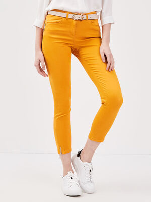 Pantalon 78 satin jaune or femme