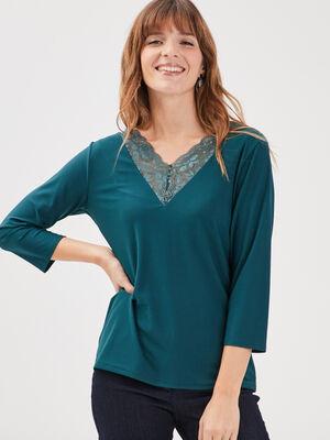 T shirt manches 34 vert canard femme