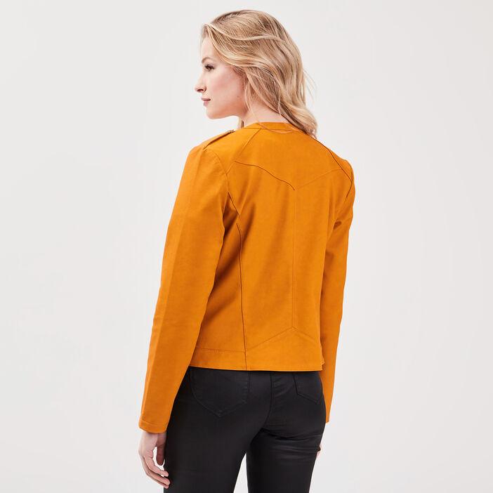 Veste droite zippée jaune moutarde femme