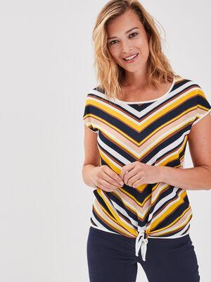 T shirt manches courtes noue multicolore femme