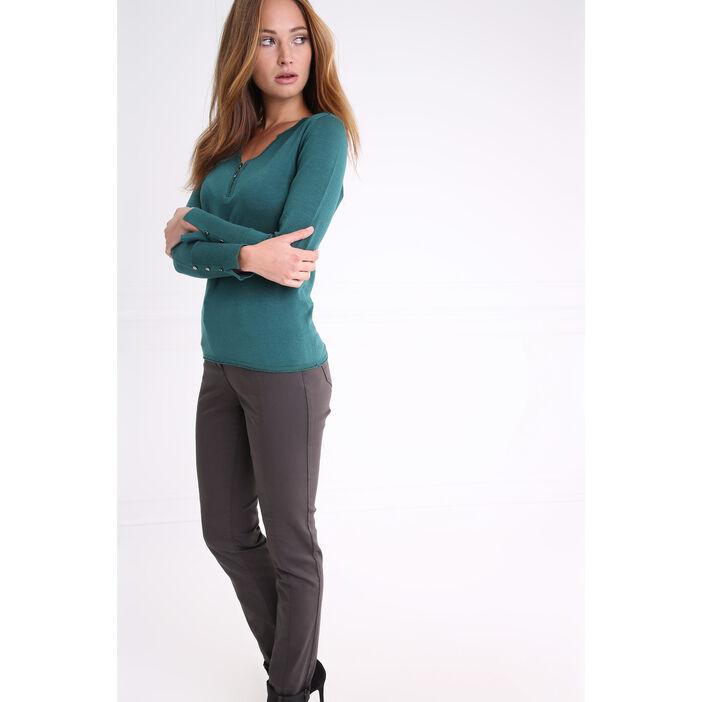Pantalon à poches zippées gris foncé femme