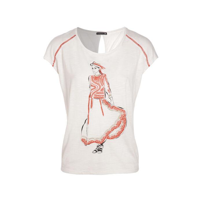 T-shirt manches courtes brodé ivoire femme